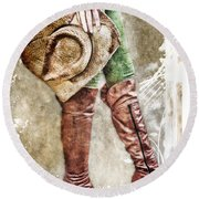 Cowgirl Boots Round Beach Towel