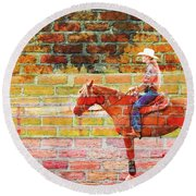 Cowgirl In Bricks Round Beach Towel