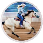 Cowgirl Rides Fast For Best Time Round Beach Towel