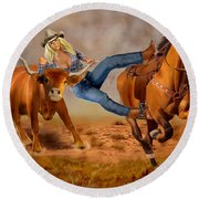 Cowgirl Steer Wrestling Round Beach Towel