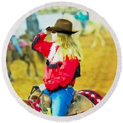 Cowgirl Waiting Round Beach Towel
