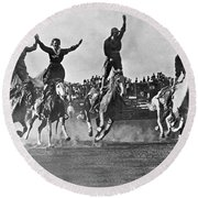 Cowgirls At The Rodeo Round Beach Towel