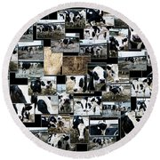Cows Collage Round Beach Towel