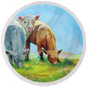 Cows Landscape Round Beach Towel