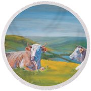 Cows Lying Down Painting Round Beach Towel