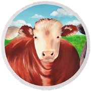 Cows Out To Pasture Round Beach Towel