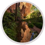 Coyote Gulch Canyon Reflection - Utah Round Beach Towel