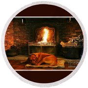 Cozy By The Fire Round Beach Towel