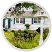 Cozy Little Back Yard Terrace With Table And Chair Round Beach Towel