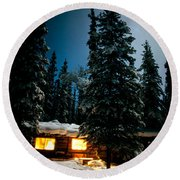 Cozy Log Cabin At Moon-lit Winter Night Round Beach Towel