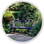 Cozy Southern Garden Bench Round Beach Towel by Carol Groenen