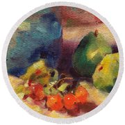 Crab Apples And Pears Round Beach Towel