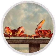 Crab Dance Round Beach Towel