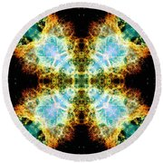 Crab Nebula V Round Beach Towel