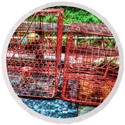 Crab Pots Round Beach Towel