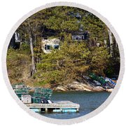 Crab Traps On Boat Near Shore Portland Round Beach Towel