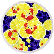 Crabs On Lemon Round Beach Towel