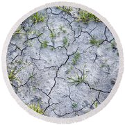 Cracked Earth Background Round Beach Towel