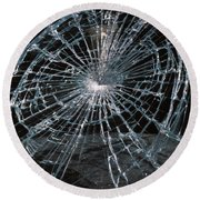 Cracked Glass Of Car Windshield Round Beach Towel