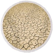 Cracked Ground Round Beach Towel