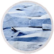 Cracked Icescape Round Beach Towel