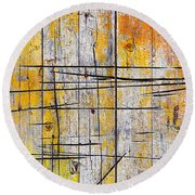 Cracked Wood Background Round Beach Towel by Carlos Caetano