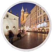 Cracow By Night In Poland Round Beach Towel