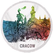 Cracow City Skyline Map Round Beach Towel
