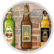 Craft Beer Collection On Brick Round Beach Towel