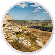 Crags Over Rothbury Round Beach Towel