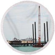 Crane Barge At Hastings Pier Round Beach Towel