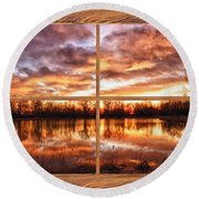 Crane Hollow Sunrise Barn Wood Picture Window Frame View Round Beach Towel
