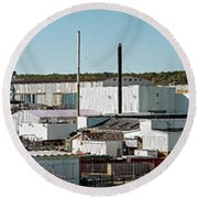 Cranes At Metal Factory, Bath Round Beach Towel