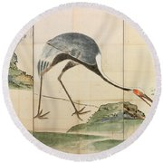 Cranes Pines And Bamboo Round Beach Towel