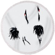 Cranes Round Beach Towel