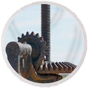 Crank And Gears Round Beach Towel by Stuart Litoff