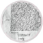 Cranmer Declaration, 1537 Round Beach Towel