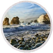 Crash - Waves From Soberanes Point In Garrapata State Park In California. Round Beach Towel