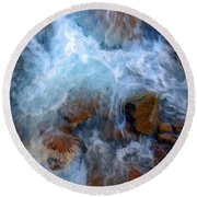 Crashing Falls On Rocks Below Round Beach Towel
