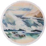 Crashing On The Rocks Round Beach Towel