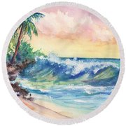 Crashing Waves At Sunrise Round Beach Towel
