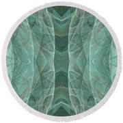Crashing Waves Of Green 4 - Square - Abstract - Fractal Art Round Beach Towel
