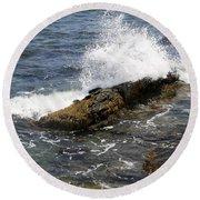 Crashing Waves - Rhode Island Round Beach Towel