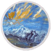 Crashing Waves Round Beach Towel