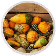 Crate Filled With Pumpkins And Gourts Round Beach Towel