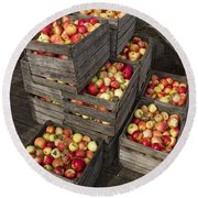 Crated Apples Round Beach Towel