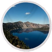 Crater Lake And Boat Round Beach Towel