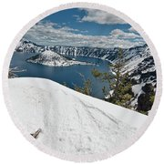 Crater Lake And Wizard Island In June Round Beach Towel