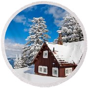 Crater Lake Home - Crater Lake Covered In Snow In The Winter. Round Beach Towel