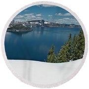 Crater Lake Panorama Round Beach Towel